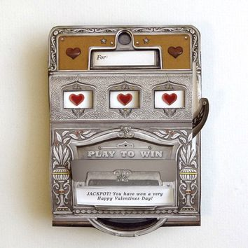 Slot Machine Pop Up Card with custom message by crankbunny on Etsy