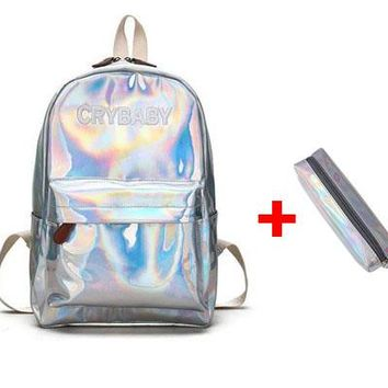 Fashion  Backpack Batoh Hologram Laser Schoolbags Pack Bag a Backpacks
