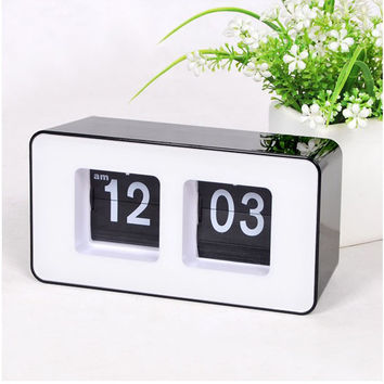 Top Quality Quartz digital Alarm Clock,Modern Automatic Flippage Flip Page Alarm Clock,Dynamic Table watch simple Art