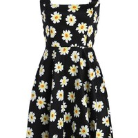 Summer Daisy Flower Print Retro Flared A-Line Dress