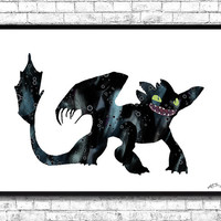 Toothless Night Fury How to Train Your Dragon Watercolor Art Print Movie Art Poster Dragon Art Dragon illustrations Wall Poster Wall Hanging