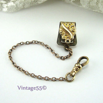 Antique Watch Fob Edwardian gold plate 1903