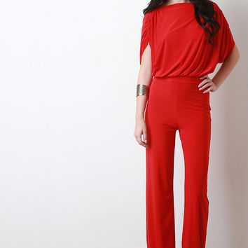 Ruched Sleeves Cape Top Jumpsuit