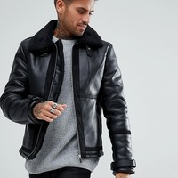 River Island Aviator Jacket with Faux Fur Lining In Black at asos.com