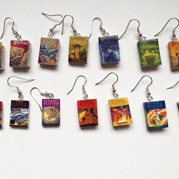 Harry Potter mini book bracelet UK and US cover series charm earrings