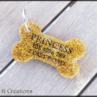 Gold Glitter Bone Dog Tag - Gold - Personalized Custom Handmade Dog Pet ID - Resin - Male Female - Glitter Dog Collar Accessory Cute