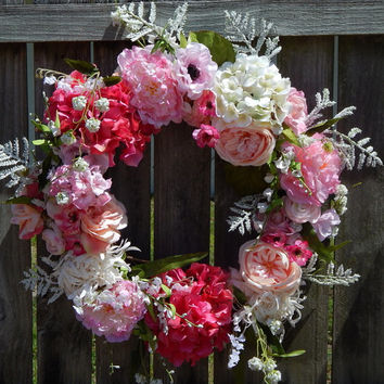 Hydrangea Spring Wreath, Spring Door Wreath, Easter Wreath, Front Door Wreath, Silk Floral Wreath, Outdoor Wreath, Grapevine, Etsy