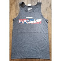 "Hawaiian Style ""Flagwaiian"" Mens Charcoal Heather Tank Top"