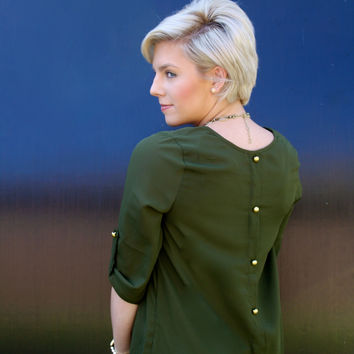 Olive 3/4 Sleeve Top with Gold Details