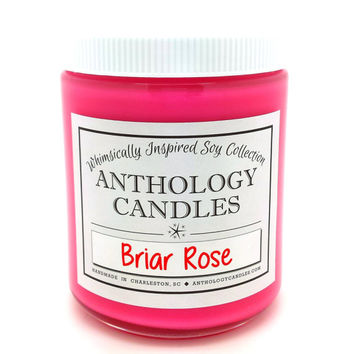 Briar Rose MAKE IT PINK Candle - Anthology Candles, Sleeping Beauty Candle, Scented Soy Candle, 8 oz Jar