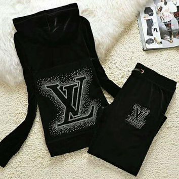 Louis Vuitton Fashion Casual Long Sleeve Zipper Hoodie Long Pants J Velvet Two Piece Set Black G-ALNZ