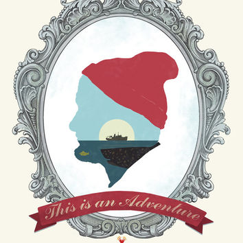 The Life Aquatic With Steve Zissou - This Is An Adventure - steve zissou, life aquatic, movie, poster, bill murray, typography