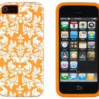 DandyCase 2in1 Hybrid High Impact Hard Orange Flower Pattern + Orange Silicone Case Case Cover For Apple iPhone 5S & iPhone 5 (not 5C) + DandyCase Screen Cleaner