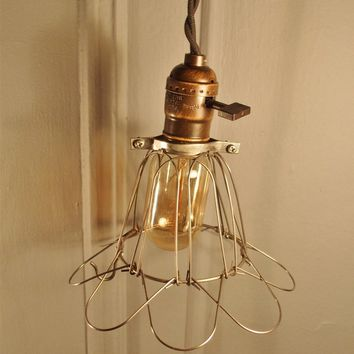 Vintage Industrial Cage Light - Machine Age Minimalist Pendant Lamp
