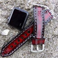 Red apple watch strap,  Apple watch band, apple watch cuff, Leather strap for Apple watch with 38 or 42mm adapters