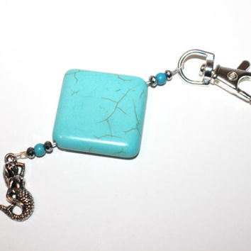 Beaded Turquoise Keychain with Silver Mermaid Charm