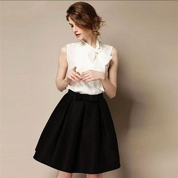 High Quality 2017 New Women's OL Retro Bow Skirts Autumn Winter Fashion Plus Size High Waist Knee-length A-line Skirt Bust Skirt