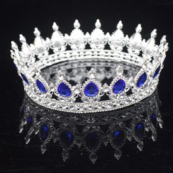 Gold/Silver Sparkling Crystal Baroque Queen King Bridal Tiaras And Crowns Women Hair Ornaments Wedding Hair Jewelry Accessories