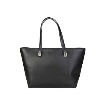 Cavalli Class Black Zipped Patch Shopping Bag