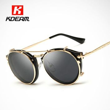 Kdeam Happy Clip On Sunglasses Men Removable Round Glasses Women Carve Design Sunglass With Brand Box CE