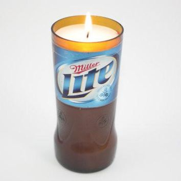 Beer Bottle Candle Upcycled from Miller Lite Beer Bottle, Custom Made Candle
