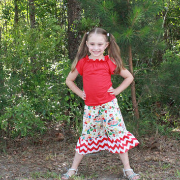 Girls Ruffle Pants with Red Chevron  and Peasant Top 6m, 12m, 2t, 3t, 4t, 5, 6, 7, 8, 9-10