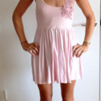 Pink cotton dress with flower detailing (Free People)