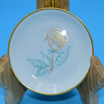 Easterling Spencerian Rose Butter Pat Dish Vintage Teal Gold Flower Butter Pat Plate Gift for Her Mothers Day Gift Wedding Decor Gift
