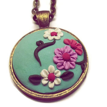 Clay charm Polymer clay Turquoise mint necklace Flower necklace Christmas gift Bohemian pendant Women's jewelry Statement necklace Gift idea