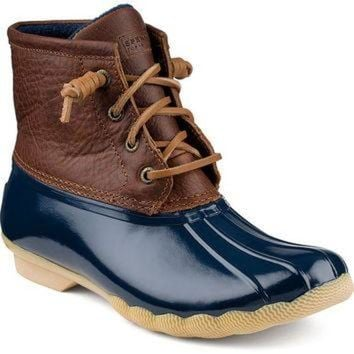 ONETOW Women's Saltwater Duck Boot in Tan/Navy by Sperry