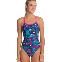 Sporti Paint Splatter Thin Strap Swimsuit at SwimOutlet.com