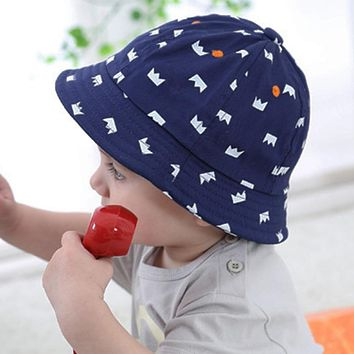 3bb223dacf5 Fashion Newborn Baby Girls Boys Sun Hats Cotton Caps Crown Printed Floral  Outdoor Bucket Hat Baby