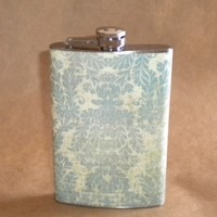 Girly Flask Distressed Vintage Looking Blue and Cream Damask Print Stainless Steel Flask