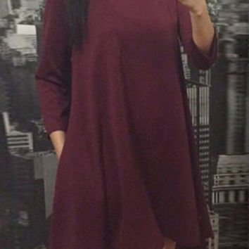 Wine Red Asymmetrical Dress