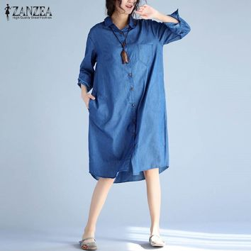 New ZANZEA Full Sleeve Long Shirt  Buttons Down Chest Pockets Denim Blue Leisure Blouse Casual Baggy Loose Casual Retro Blusas