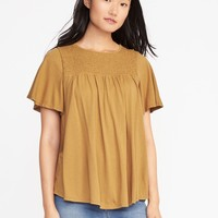 Relaxed Smocked-Yoke Jersey Top for Women | Old Navy