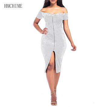 Women Velvet Dress Zipper Fly Front Slash Neck Off Shoulder Short Sleeve Push Up Buttocks Ladies Dress Backless Vestidos HM1282