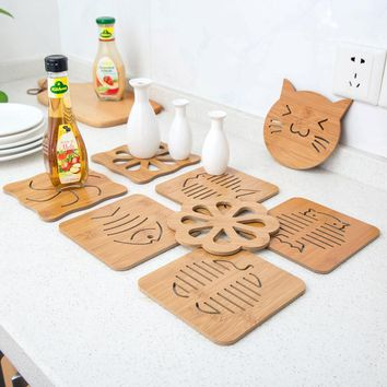 Special Hot Wooden Carved Coasters Table Pad Cartoon Cat Owl Cup Mug Mat Coffee Tea Holder Home Decor Tableware Free Shipping