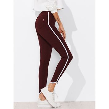 Burgundy Skinny High Waist Jeans