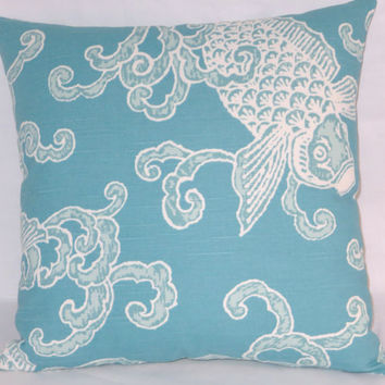 "Aqua Koi Throw Pillow Turquoise Blue White Fish Carp Waves Oriental Style 17"" Cotton Square Ready Ship Cover and Insert"