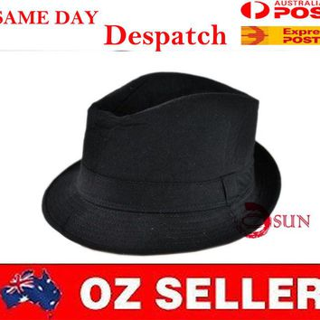 Black Women Men's Fashion Gangster Fedora Bucket Hat Cap Trilby Crusher Panama