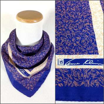 Vintage Anne Klein Silk Head Scarf Royal Blue Coral Pink Abstract Swirly Brushstrokes Bohemian Gypsy Silk Bandana New Wave Silk Neck Scarf