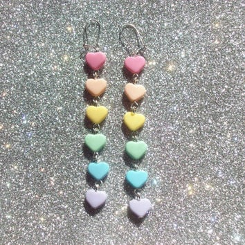 Pastel Rainbow Heart Earrings