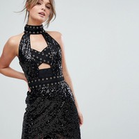 Boohoo Cut Out Detail Sequin Mini Dress at asos.com