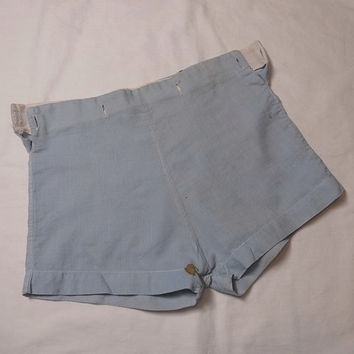 Vintage 1940s Boys' Pale Blue Cotton Shorts, Buttons to Top, NO Top, Vintage Children's Clothing, Vintage 1940s Boy Fashion, Baby Room Decor