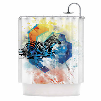 """Frederic Levy-Hadida """"Walk Off The Colors"""" Multicolor Zebra Shower Curtain"""
