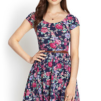 Belted Floral Skater Dress