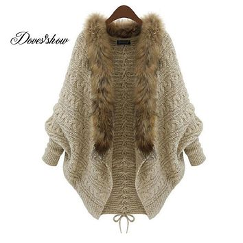 Women Oversized Faux Fur collar Poncho Cardigans Sweater Knitted Long Mujer Casual Women Autumn Winter Warm Sweaters Jacket