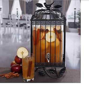 Clear Beverage Dispenser Glass 1.32 gal Bird Cage Stand Black Design Bar