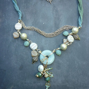 OOAK statement necklace, beach inspired gold and teal  bib style necklace ,amazonite donut  shell beads ,shell charms shipped from UK